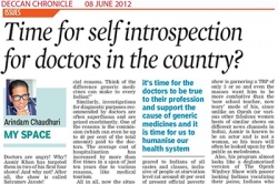 Time for self introspection for doctors in country Article by Prof. Arindam Chaudhuri, Deccan Chronicle