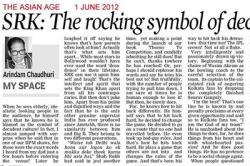 SKR: The rocking symbol of decanent culture in India - Article by Prof. Arindam Chaudhuri; The Asian Age