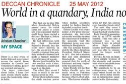 World in a quandary, India no exception - Article by Prof. Arindam Chaudhuri