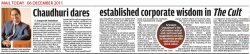 Arindam Chaudhuri dares established corporate wisdom in the Cult, Mail Today - 06 December 2011