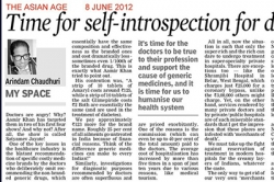 Time for self-introspection for doctors in the country, Article by Prof. Arindam Chaudhuri, The Asian Age