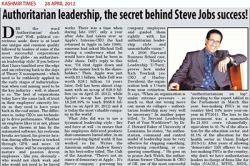 Authoritarian leadership, the secret behind Steve Jobs success!, Article by Prof. Arindam Chaudhuri
