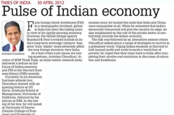 Pulse of Indian economy, Article by Prof. Arindam Chaudhuri