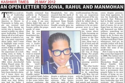 An open letter to Sonia, Rahul and Manmohan - Article by Prof. Arindam Chaudhuri