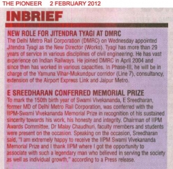 E Sreedharan Conferred Memorial Prize by IIPM - 2 February 2012