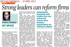 Strong leaders can reform firms, Article by Prof. Arindam Chaudhuri