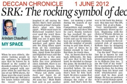 SKR: The rocking symbol of decanent culture in India - Article by Prof. Arindam Chaudhuri; Deccan Chronicle